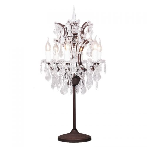 Rh 19th C Rococo Iron Crystal Table Lamp, Chandelier Table Lamps Uk